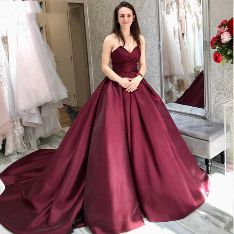 Sweetheart Strapless Burgundy Long Prom Dress with Pockets,DR2626
