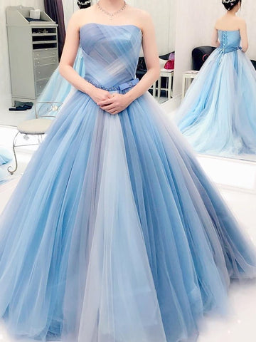 Strapless Ball Gown Prom Dress Tulle Colourful Customed Prom Dress,DR2649
