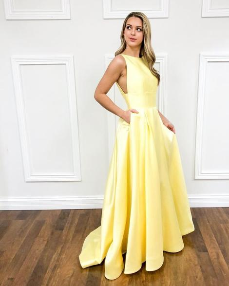 charming yellow sleeveless pocket full length evening dresses school event dress satin pocket prom dress,DR3038