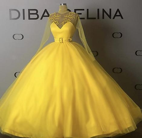 Yellow Ball Gown Prom Dresses Jewel Neck Tulle Pearls Belt Long Sleeve Evening Gowns Floor Length Sweet 16 Dress,DR3039