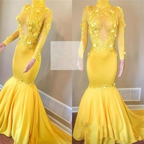 New Yellow Prom Dresses Long Sleeve Mermaid High Neck Vintage African Evening Gown See Through Keyhole,DR3040
