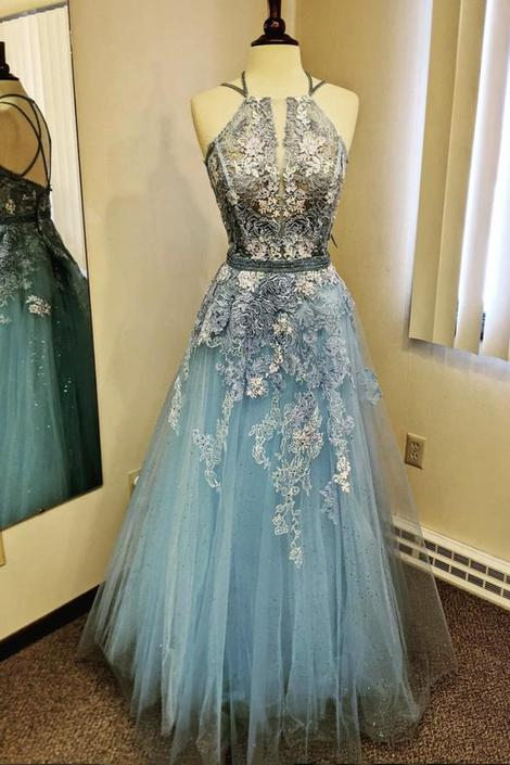 Blue lace long prom dress blue evening dress,DR3094