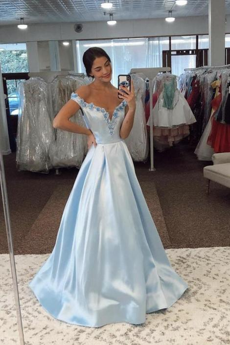 Blue satin long prom dress blue evening dress,DR3096