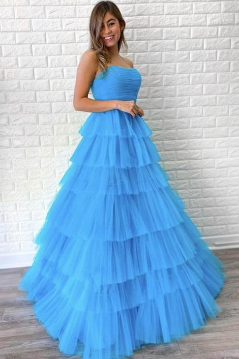Blue tulle long prom dress blue evening dress,DR3097
