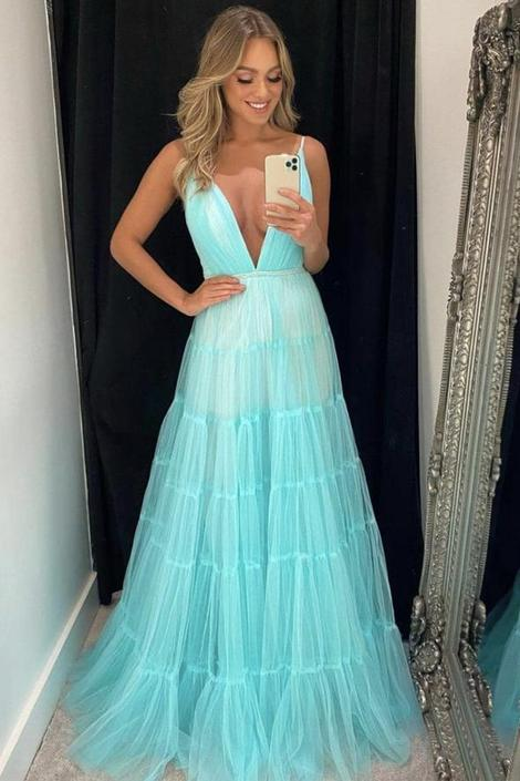 Blue v neck tulle long prom dress blue evening dress,DR3111