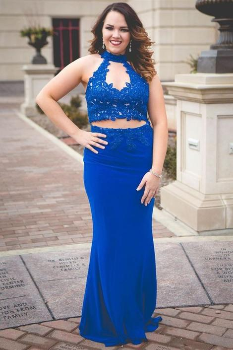 Gorgeous Two Piece Blue Mermaid Long Prom Dress,DR3136