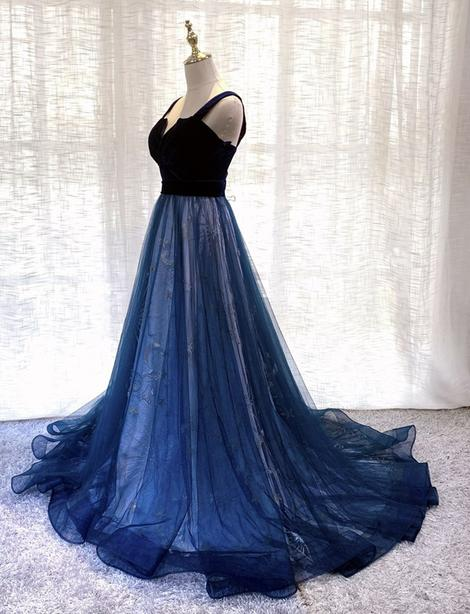 Blue velvet tulle long prom gown formal dress,DR3137