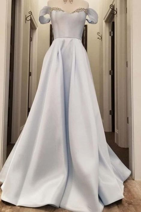 off the shoulder light blue satin long prom dress,DR3139