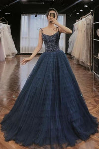priness navy blue A-line tulle long evening dress,DR3140