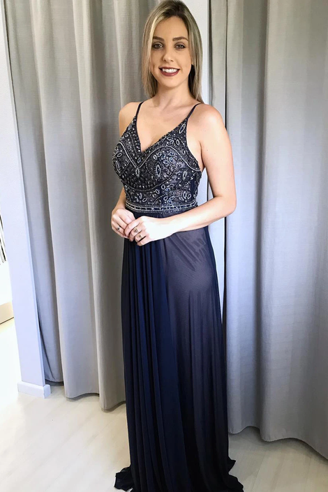 Elegant V Neck Beaded A-Line Navy Blue Prom Dress,DR3162