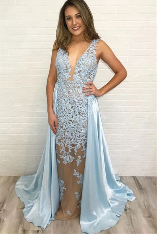 Elegant Lace Straps Detachable Prom Dress | Blue Sleeveless A-Line Evening Gown,DR3189