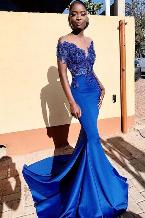 Black Girl Prom Dress Cheap Short Sleeve Sexy Mermaid Beading Appliques Royal Blue Prom Dresses ,DR3702