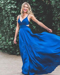 Charming A-Line V Neck Royal Blue Stain Long Prom Dresses with Pockets,Formal Evening Party Dress,DR3703