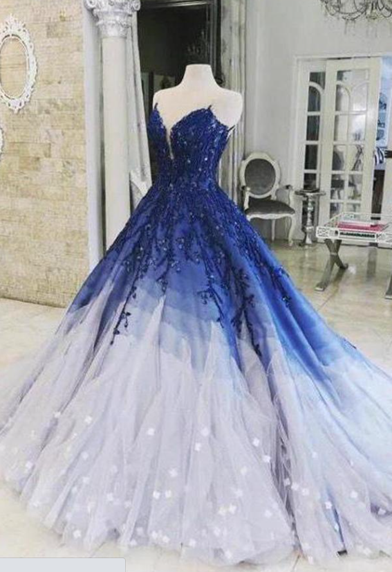 Elegant Royal Blue Ombre A-line Sweetheart Prom Dresses With Appliques,DR4337