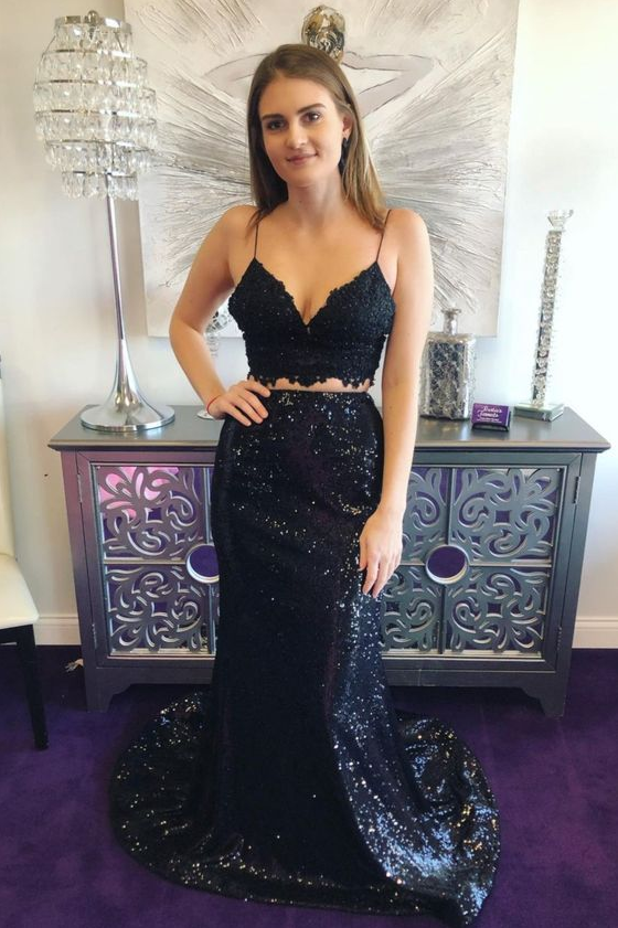 two piece mermaid black long evening dress prom dress ,DR4376