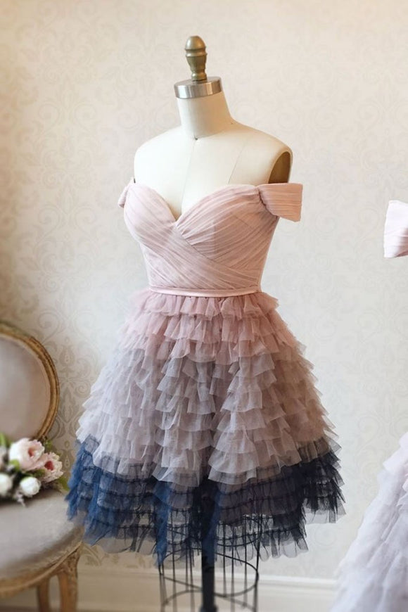 PINK SWEETHEART TULLE SHORT PROM DRESS PINK TULLE FORMAL DRESS,DR4603