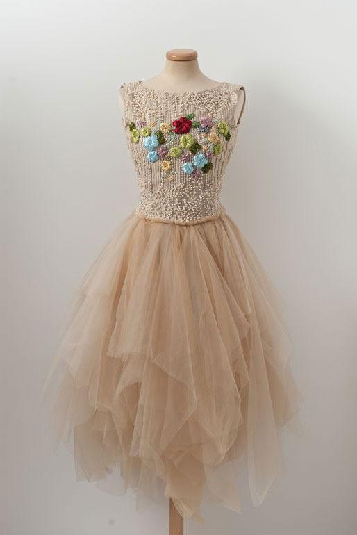 CHAMPAGNE TULLE BEADS SHORT PROM DRESS, CHAMPAGNE TULLE HOMECOMING DRESS,DR4607