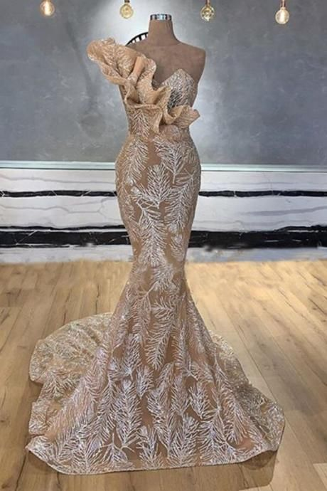 champagne evening dress, sparkly evening dress, lace applique evening dresses, unique evening dress,DR4621