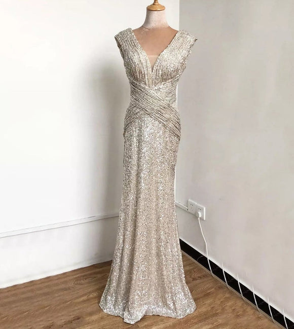 Sequinned Champagne Sleeveless V-Neck Mermaid Bridal bridesmaid Evening Party wedding dress Dubai style long dress,DR4938