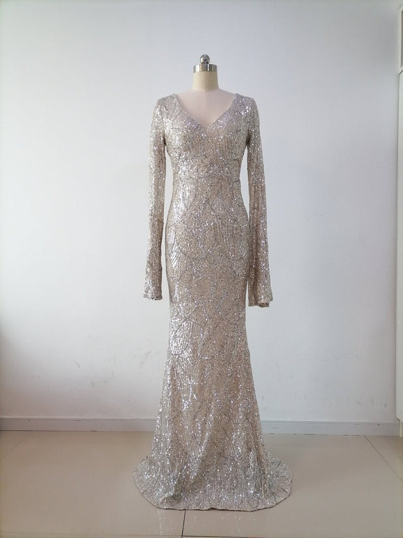 Women Long Party Prom Dress Gown Mermaid Long Evening Dress Formal Party Dress Bridal Gown V Neck Long Sleeves Sequins Homecoming Dress,DR4950