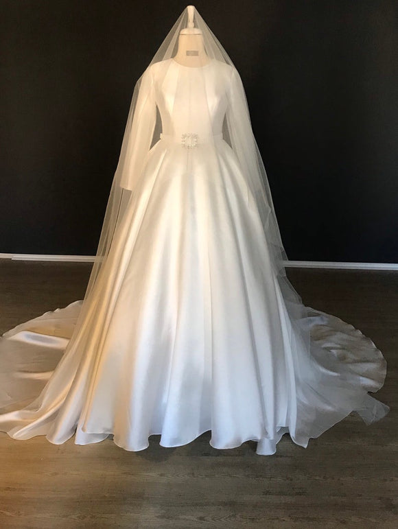 Minimalist wedding dress, long sleeve ,mikado silk wedding dress, ball gown wedding dress with crsytal belt details. Made to measure,DR4967