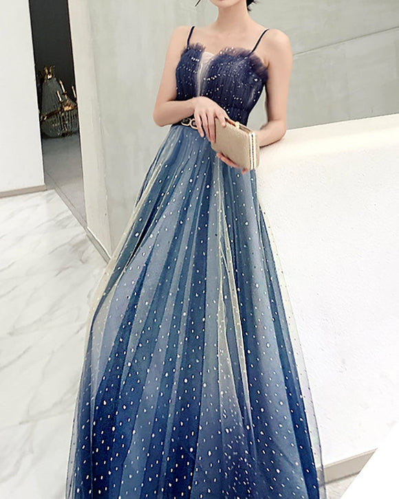 Gradient Blue Prom Dress Sparkling Spaghetti Straps Prom Dress Shinny Ball Gown A-Line Fairy Prom Gown Graduation Dress Formal Party Dress,DR4968