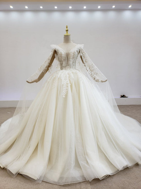 Sale! Luxury tulle ballgown wedding dress with cape, bling wedding dress with royal train cape,DR4969