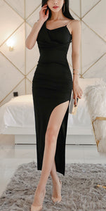 Black Fitted Long Evening Dress,DR5106