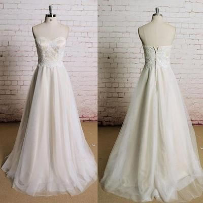 Strapless Sweetheart Neckline Lace Elegant Simple Charming Wedding Dress,E0044