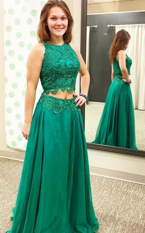 Green Prom Dress,two Piece Prom Dresses,2 Piece Prom Gowns,prom Dresses, E0075