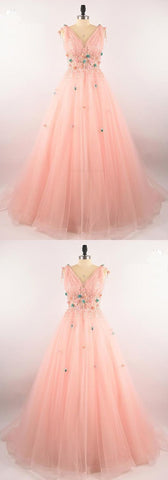 Chic Prom Dresses Floor-length Pink Prom Dress/Evening,E0076