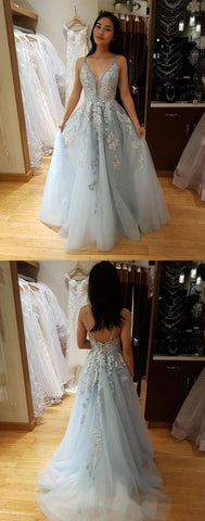 Blue v neck tulle lace long prom dress, blue lace evening dress, E0079