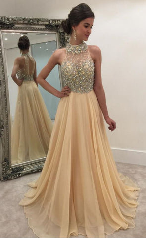 Champagne Long Chiffon A-Line Formal Dress Featuring Rhinestones Beaded Bodice With Illusion Halter Neckline,Long Elegant Prom Dresses,E0080