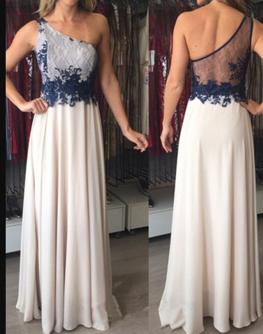 Applique Floor-Length Elegant One-Shoulder Chiffon Sleeveless Prom Dresses,E0084