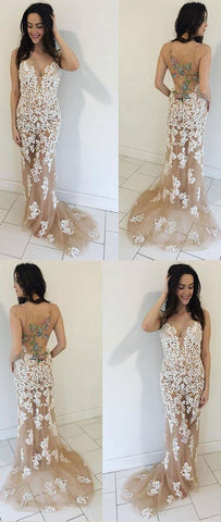 Champagne Prom Dresses,Mermaid Prom Dress,Appliques Prom Gown,Long Prom Dress,Sexy Party Dress,Formal Dress, E0085
