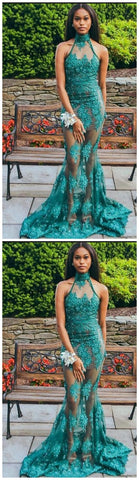 Green See Through Prom Dresses Halter Lace Appliques,E0101