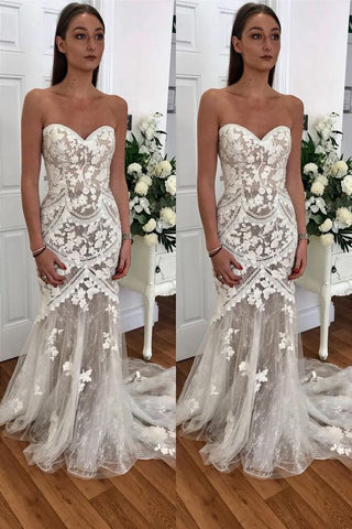Mermaid Sweetheart Appliques Wedding Dress,E0132