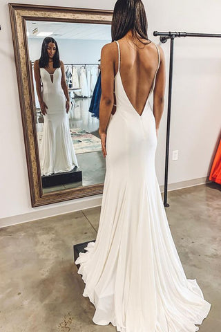 Simple Mermaid White Long Wedding Dress with Backless,E0133