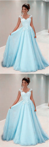 A Line Lace Appliques Long Chiffon Prom Dresses With Nude Tulle,E0166