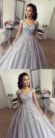 Silver Wedding Dresses Ball Gowns Lace Embroidery Off Shoulder,E0167