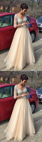 Sexy Half Sleeve Champagne Prom Dresses,sexy Long Tulle Evening Dresses ,Cheap Tulle Prom Dress,E0170