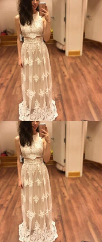Beautiful Girls Scoop Neck Tulle Floor-length Appliques Lace Two Piece Prom Dresses, Light Champagne Formal Dresses, Two Piece Party Gowns,E0171