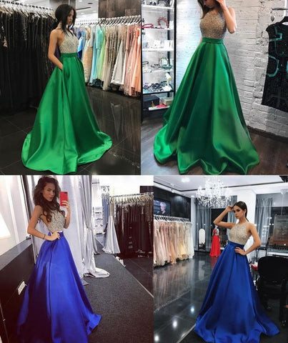 Bling Beading Bodice Green Satin Halter Evening Prom Dresses With Pockets,E0174