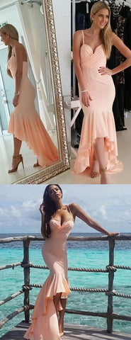 Spaghetti Straps Mermaid Prom Dress, Sexy High To Low Prom Dress, Sweetheart Blush Pink Evening Dress,E0176
