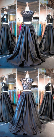 2019 New style ball gown 2 pieces prom dresses fashion prom gowns Black Sweet 16 Gown prom dress for spring teens,E0178