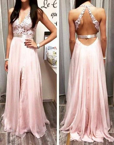 Appliques Beading Prom Dresses, V-Neck Floor-Length Prom Dresses, Real Made Evening Dresses,Chiffon Backless Evening Dresses, Evening Dresses,E0179