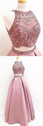 two piece blush pink long prom dress, gorgeous beaded long prom dress, party dress,E0180