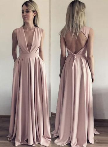 A Line Evening Dress, Open Back Evening Dresses, Deep V Neck Long Prom Dress,E0181