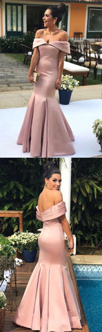 Nude Pink Satin Mermaid Prom Dresses V-neck Off Shoulder Evening Gowns ,E0182