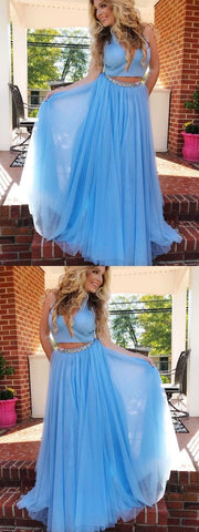 Two Piece Prom Dresses High Neck Sexy Rhinestone Long A Line Prom Dress,E0183